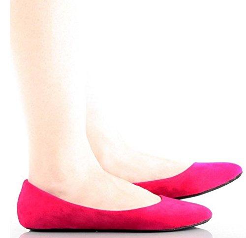 Nya Kvinna Avslappnad Slip På Lägenheter Rund Tå Balett Lägenheter Skor Komfort Rosa * Mocka
