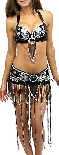 [Rave Wonderland Women's Black Tassel Rave Bra and Belt Outfit Small] (Edc Costumes Men)