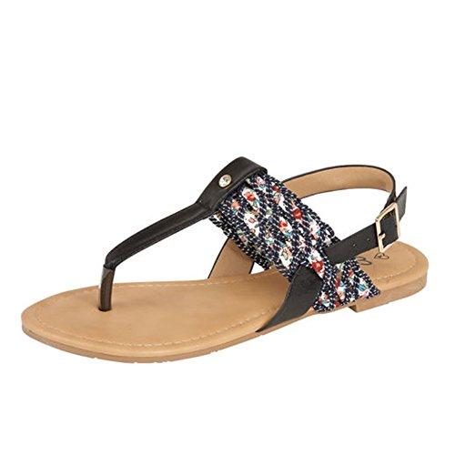 Womens Flats Toe Post Diamante Trim Sandals Ladies Ankle Strap T-Bar Shoes Black IJU0AmecKz