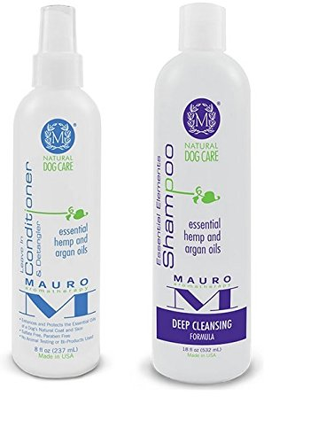Mauro Natural Dog 8 oz Leave-in-Conditioner & 18 oz Shampoo (Deep Cleansing Formula)