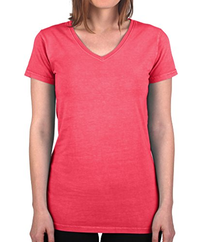 Have It Tall Women's V Neck T Shirt Premium Ringspun Cotton Made in USA Watermelon Medium ()