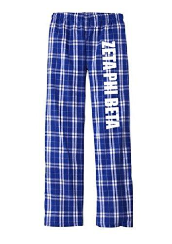 Women's Zeta Phi Beta Sorority Flannel Plaid Lounge Pant Pajamas Large Deep Royal