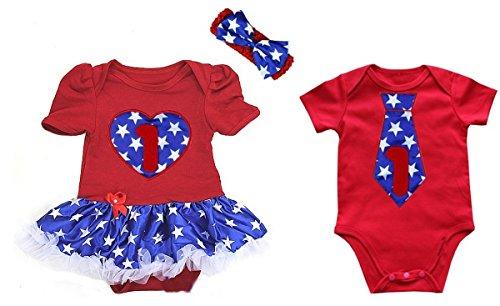 1st Heart & Tie Blue Star Twins Bodysuit 3-6M White