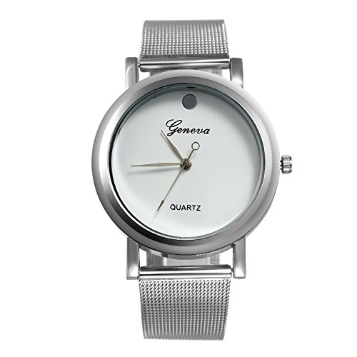 Ladies Bracelet Bangle Unisex Watch Ultra Thin Simple Dial Silver Stainless Steel Mesh Woven Strap