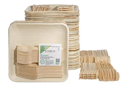 300 PCS Eco Friendly Disposable Dinnerware Set - 100 Palm Leaf Compostable 8