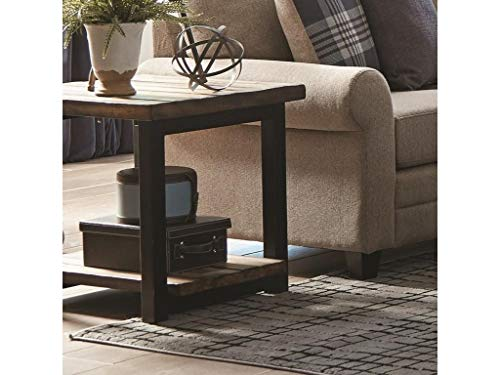Scott Living Summerland Planked Top End Table, Rustic Brown and Black