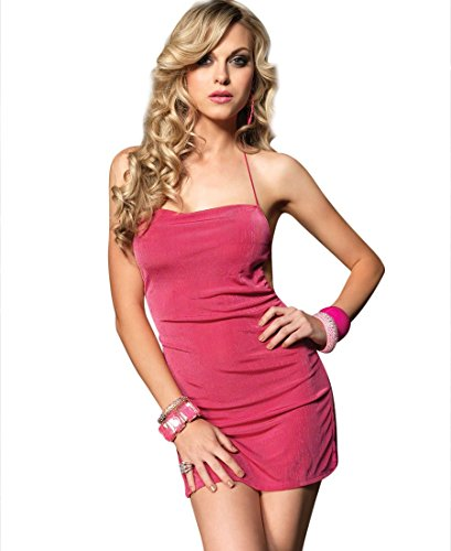 Leg Avenue 8049 Women's Slinky Thin Strapped Sexy Mini Dress Chemise - One Size - Fuchsia ()