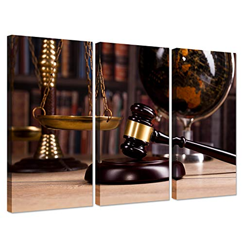 - Hello Artwork Vintage Office Room Decor 3 Pieces Canvas Wall Art Law Firm Scales Justice Legal Hammer Old Globe Codex Books Library Background Picture On Canvas for Court Decoration Ready to Hang