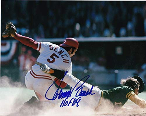 Johnny Bench Signed Photograph - Hof 89 8x10 - Autographed MLB -