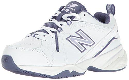 New Balance Women's 608V4 Comfort Pack Training Cross-Trainer Shoe, White/Purple, 9 B US