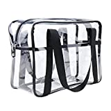 ONEGenug Clear Tote Bag Thick PVC Toiletry Bag Cosmetic Travel Case Waterproof Makeup Artist Large Bag Diaper Luggage Organizer Storage Easy Clean