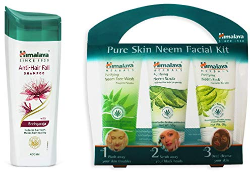 Himalaya Herbals Anti Hair Fall Shampoo, 400ml & Pure Skin Neem Facial Kit Combo