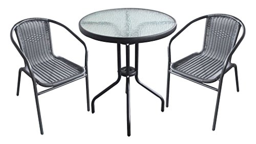 CTC® Garden Patio All Weather Black Wicker 3 Piece Bistro Set Patio Outdoor Furniture (9483)