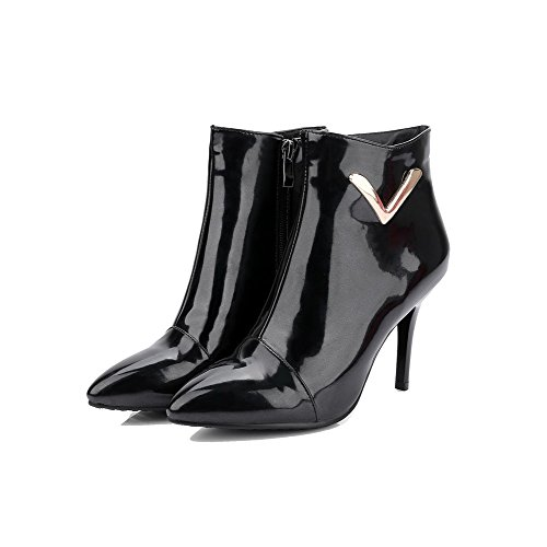 Boots Black Soft Heels Zipper AgooLar Top Solid Material Women's High Low q7wvTgPz