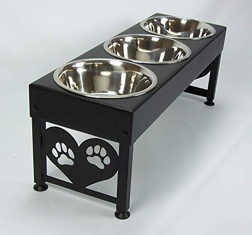 Large Elevated Dog Feeder 12 Inch Tall Triple Stainless Raised Bowls Powdercoated Steel