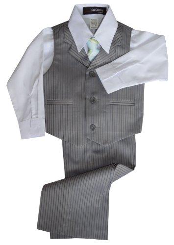 G280 Pinstripe Boys Formal Dresswear Vest Set (X-Large/18-24 Months, (Gino Formal Suit Set)