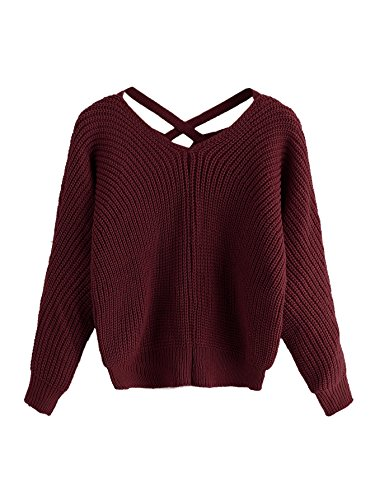 ROMWE Women's Criss Cross Crew Neck Solid Long Sleeve Knit Pullover Sweaters Burgundy one-size