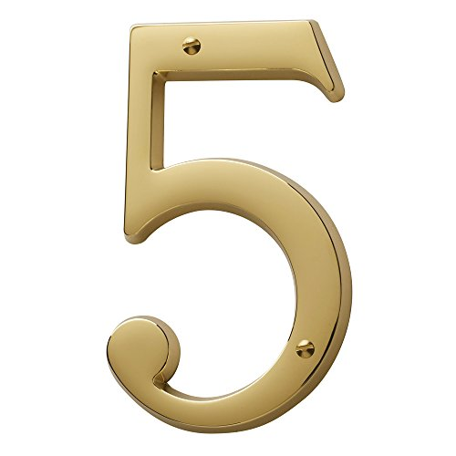 (Baldwin Estate 90675.003.CD Solid Brass Traditional House Number Five in Polished Brass, 4.75