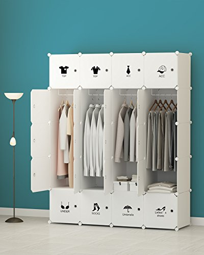 Portable Closet Clothes Wardrobe Bedroom Armoire Storage Organizer with Doors, Capacious & Sturdy. 20 cube White (Bedroom Closets Doors)