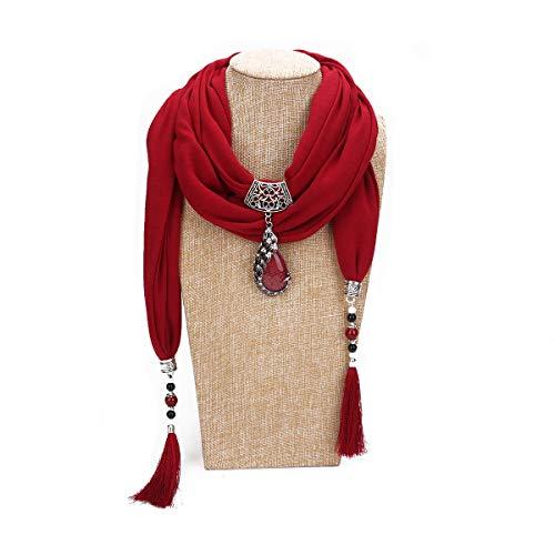 GOGNGTR Vintage Polyester Scarf Alloy Resin Gem Pendant Women's Necklace Jewelry Scarves(sc0021) (Burgundy) ()