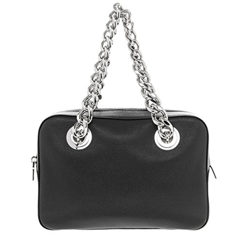 Prada-Womens-Chain-Top-Handle-Grained-Large-Bag-Black