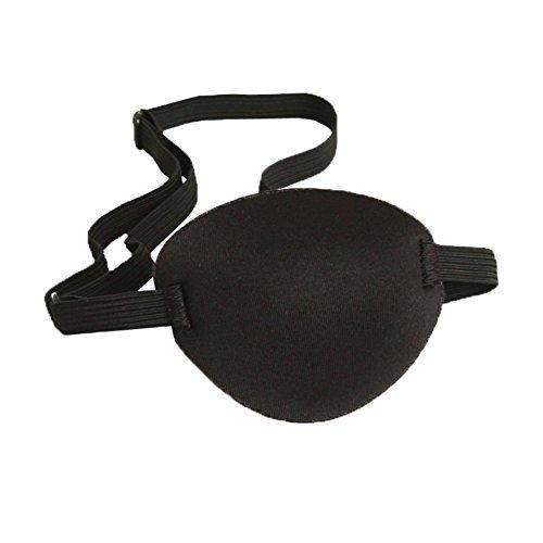 AKOAK 1 Pcs Adult Kid's Black Adjustable Soft and Comfortable Pirate Eye Patch Single Eye Mask for Amblyopia Lazy Eye