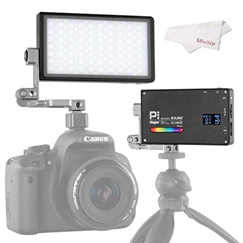 Mivitar Boling P1 RGB Led Video Light 2500k-8500k Mini Pocket Size On Camera Light with 9 Applicable Situation, 360° Adjustable Support System with Built in Battery
