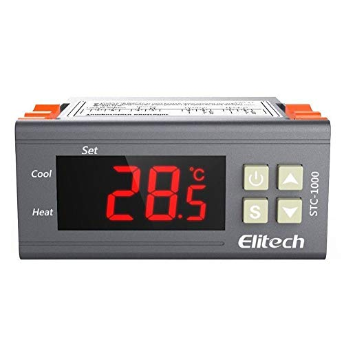 Elitech STC-1000 Temperature Controller Origin Digital 110V Centigrade Thermostat 2 Relays (Temperature Process Controller)