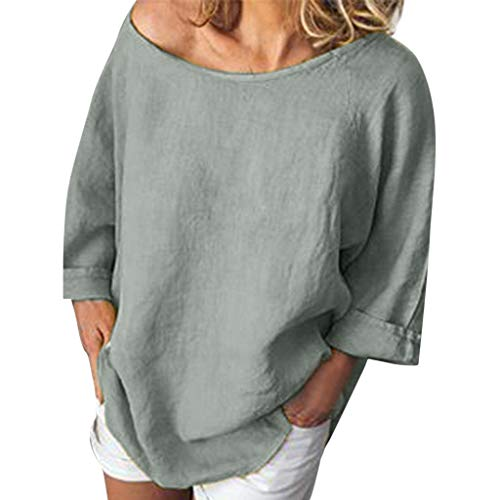 - QIQIU Sexy Womens 3/4 Sleeve Fashion Casual O-Neck Linen Solid Pullover Tops T-Shirt Loose Blouses Grey