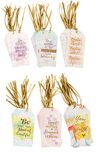 Gift Tags - 72-Pack All Occasion Message Tags with Inspirational Quotes. 6 Colorful Watercolor Designs, Positive Note Tags for Birthdays, Weddings, Anniversaries, Students, Teacher Appreciation