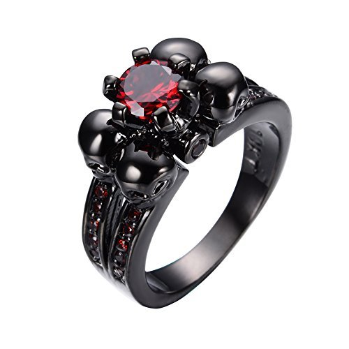 Bamos Jewelry Womens Red Lab Stone Skulls Ring Engagement Wedding Black Gold Plated Garnet Womens Ring Size 7