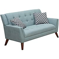 Furniture World Mid Century Love Seat, Turquoise