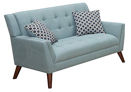 Furniture World Mid Century Love Seat, Turquoise (Modern Contemporary Loveseat)