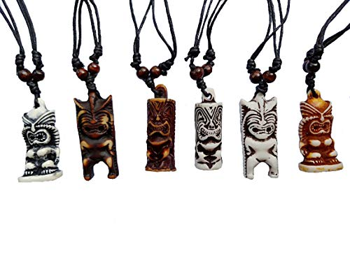 Askana 6pcs God Amulet New Zealand Tiki Totem Idols Pendant Necklace Set with Adjustable Cotton Cord (Set # -