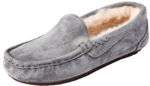 U-lite Womens Fur Wool Slipper Casual Flat Indoor&Outdoor Slip-On Loafer, Shearing Moccasin Slippers For Women Grey (Pigskin Suede)