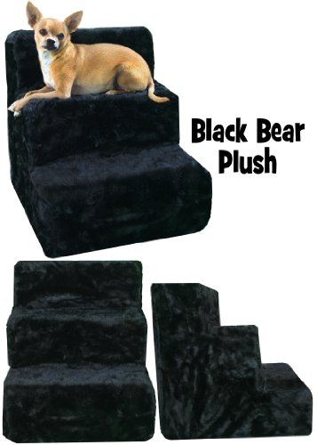 Cheap Pet Flys High density foam Pet Steps with Black Bear plush cover