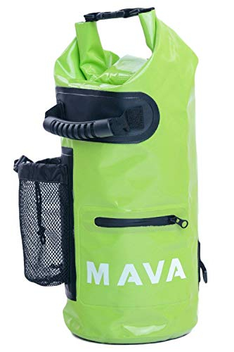 Mava Sports Waterproof Dry Bag - Mobile and Water Bottle Pocket, Long Adjustable Shoulder Strap - Roll Top Sack for Adventures, Boating, Canoeing, Rafting, Camping, Snowboarding, Water (Green, 15l) (Water Rafting)
