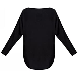 UGET Women's Sweater Casual Oversized Baggy Off-Shoulder Shirts Batwing Sleeve Pullover Shirts Tops Asia XL Black