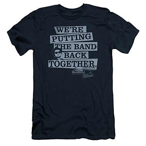 Blues Brothers Men's Band Back Slim Fit T-shirt Large Navy