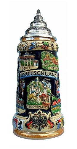 German Beer Stein gracious castle crown stein 0.5 liter tankard, beer (King Ludwig Beer)