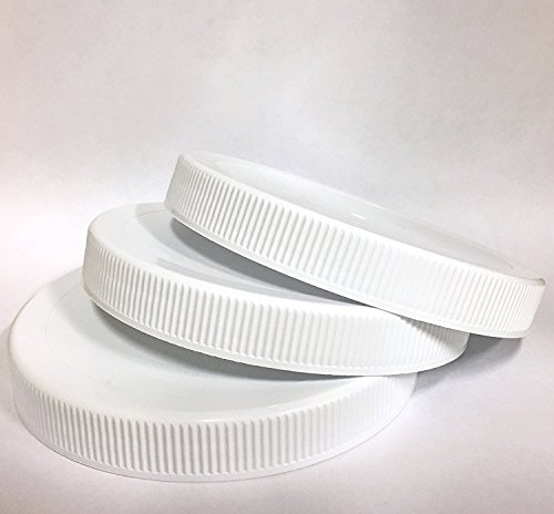 1 Gallon Fermentation Jar Replacement White Polypropylene Caps 110/400 (3, White (Canning Replacement Lids)