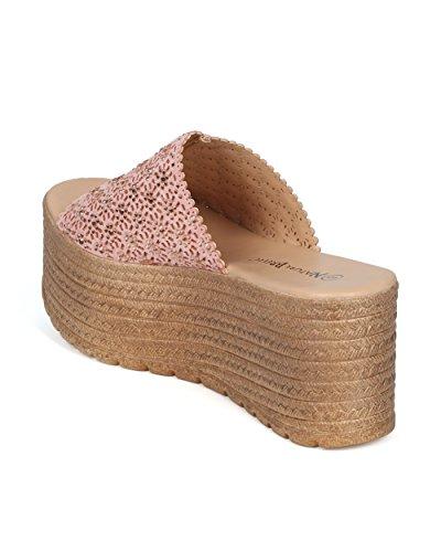 Sandalo Con Zeppa Traforata In Pelle Traforata Con Zeppa Forata Donna - Hg65 By Nature Breeze Collection Pink Mix Media