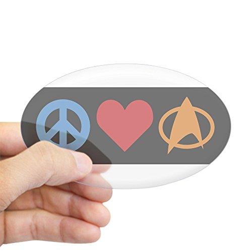 CafePress - Peacelovetrek-Black-01 Sticker - Oval Bumper Sticker, Euro Oval Car Decal - Love Trek Water Bottle