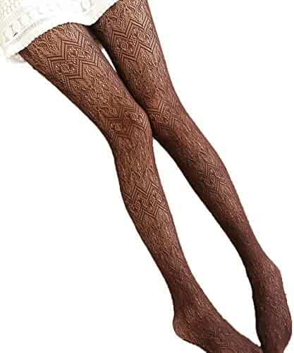 eac5b4048f0 Shineweb Sexy Women s Hollow Out Wavy Pantyhose Footed Tights Stretchy Long  Stockings