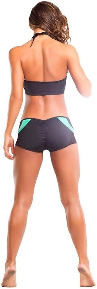 Black//Mint Made in the USA. Small//Medium BodyZone Apparel Yoga /& Fitness Rainbow Two-Tone Scrunch Back Short