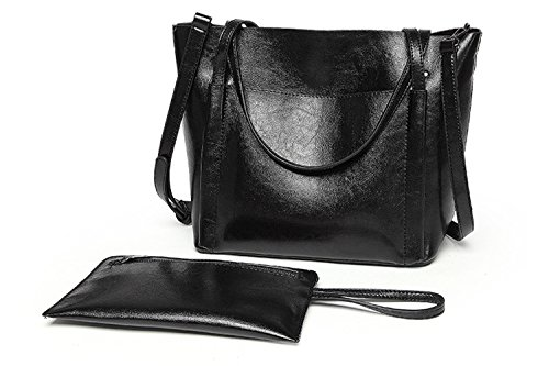 Juilletru Black 2 Women Handbags Leather Shoulder Bags Top-Handle Crossbody Business Purse Set