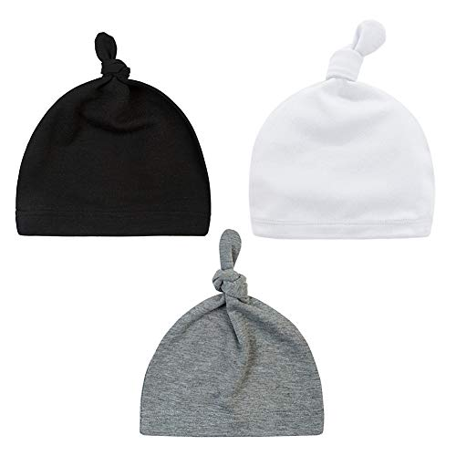 (Little World Baby Hat Unisex Baby Cotton Adjustable Super Soft Knotted Caps, 3 Unisex Solid Colors)