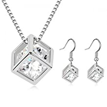 Dancing ZoneJewellery Hot Prevalent Necklace Earrings Two Pieces Rhodium Plated Jewelry With Australian Element Suit -G