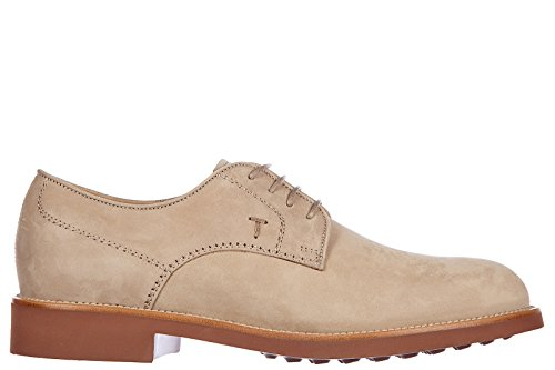 Tod's chaussures à lacets classiques homme en cuir derby light beige