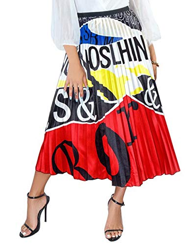 Women's Graffiti Pleated Skirts Color Block Letter Print Elastic Waist Long Swing Vintage A-Line Midi Skirt Wine Red XL ()